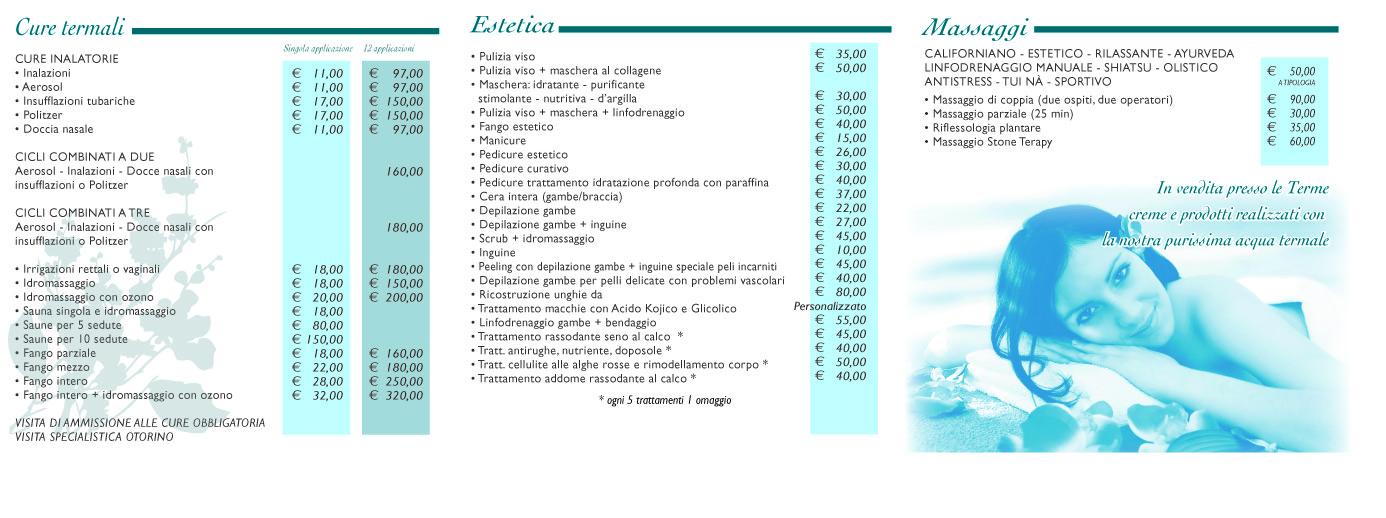 Listino prezzi Terme di Cretone | Terme del Lazio